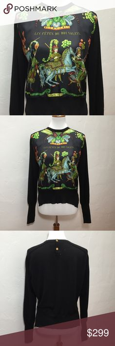 """Hermes Paris Black Wool & Silk Print Sweater This sweater is in fair condition. The front panel is silk, with a design of men and horses. There are 2 buttons at the back of the neck. The silk at the neckline on the front is frayed. There are 4 small holes near the buttons on the back, and another at the middle of the back. The sweater also has some pilling. European size 38 - please refer to measurements.  Approximate measurements: Total length - 22"""" Armpit to armpit - 21"""" Sleeve length…"""