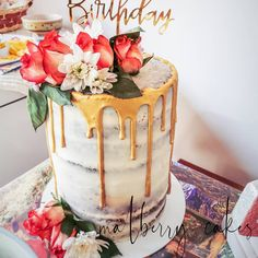 Spiced carrot semi naked cake with cream cheese icing filling. Gold drip effect and fresh flowers. 40th Birthday Cake For Women, 40th Birthday Cakes, Happy Birthday, Cream Cheese Icing, Cake With Cream Cheese, Gold Drip, Drip Cakes, Carrot Cake