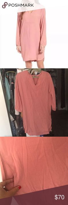 Madewell shift dress Light pink shift dress by Madewell with pockets!!! V cute and can be dressed up or down. Purchased for work but never wore. Sorry that it's wrinkly, has been sleeping in my dresser Madewell Dresses Long Sleeve