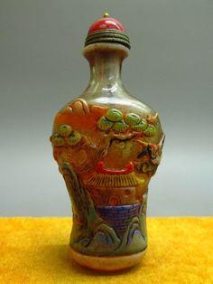 Chinese Peking Overlay Glass Carved Crane & Scenery Pattern Snuff Bottle