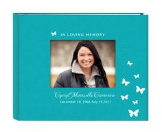 Teal colored linen cover funeral in loving memory guest book registry with inside spiral pages so book stays flat when opened on any page. Photo window with your 3 lines of personalized text! Beautiful!