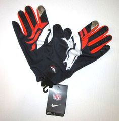 super popular 3c597 3ca55 Details about Nike Mens Denver Broncos Stadium Edition Fan Gloves  NAVYORANGE 2XL