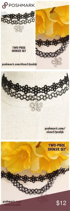 "Two-Piece Choker Set Butterfly & Flowers Brand New Boutique Item 12.50"" with Extension to 14.50"" Silver Tone Butterfly Charm Top-Rated Seller.  Fast Shipper!  Thanks for Looking No TradesNo HoldsNo Off-Site Selling Jewelry Necklaces"