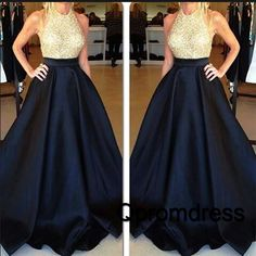 2016 cute dark blue satin long poofy prom dress with sequins top, ball gown, prom dresses for teens #coniefox #2016prom