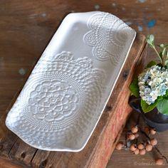 Elodie/Amara pattern ~ long platter, Handmade Australian Ceramics - KW Ceramics