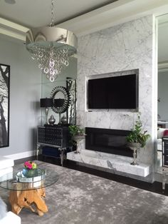 Fantastic Free of Charge bedroom Fireplace Remodel Ideas Statuario Marble on Fireplace project Fireplace Feature Wall, Marble Fireplace Surround, Fireplace Tv Wall, Linear Fireplace, White Fireplace, Bedroom Fireplace, Fireplace Remodel, Modern Fireplace, Living Room With Fireplace