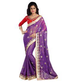 Purple Chiffon And Foil Embroidered Designer Saree Sarees on Shimply.com