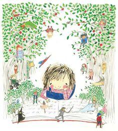 Silent Auction Lot 5: Rebecca Cobb - current bid Art Magique, Reading Art, Girl Reading, Children's Book Illustration, Whimsical Art, Cute Art, Childrens Books, Illustrators, Art For Kids