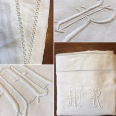 Stunning Vintage European Linen Sheet with Monograms and tatted lace! Check out our dozens of new vintage linens! Etsy.com/shop/VintageStoryLinens