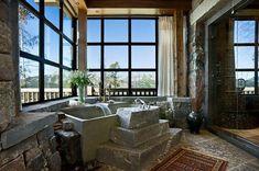 Rustic bathroom with stone tub Rustic Bathroom Designs, Rustic Bathroom Decor, Rustic Bathrooms, Bathroom Styling, Modern Bathroom, Bathroom Ideas, Master Bathrooms, Bathroom Vanities, Bathroom Interior
