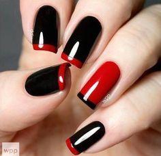 Czarno-czerwone wzorki: dla eleganckiej pani na co dzień | Wzorki na Paznokcie