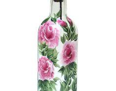 Pintado a mano vidrio botella aceite de oliva por HelensGiftStore