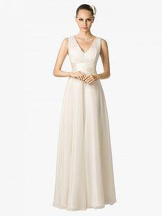 Pleated Sleeveless V Neck Chiffon A Line Bridal Dress