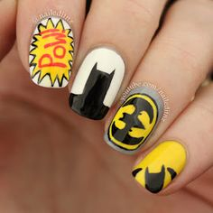 Image shared by Nailed It NZ. Find images and videos about nails, nail art and batman on We Heart It - the app to get lost in what you love. Batman Nail Designs, Batman Nail Art, Comic Nail Art, Superhero Nails, Latest Nail Designs, Cute Nail Designs, Marvel Nails, Oval Shaped Nails, Tumblr Nail Art