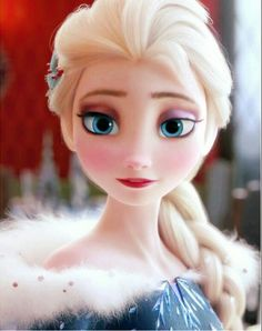 Elsa in her new beautiful dress from Olaf's Frozen Adventure short