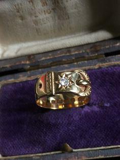 Sz 7 Antique Victorian hallmarked 18k gold diamond buckle ring by GemcircusJewelry on Etsy https://www.etsy.com/listing/506184412/antique-victorian-hallmarked-18k-gold