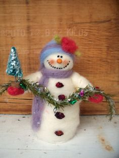 Sophie the Snowlady Wool Wrapped/Needle Felted by WhimsicalWoolies, $28.00