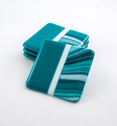Fused Glass Coasters Set of 4 Teal Home Decor by Nostalgianmore