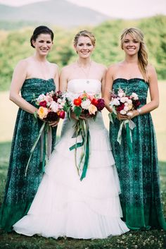Rich green bridesmaid dresses || Photography: Cambria Grace Photography - www.cambriagrace.com  || Read More: http://www.stylemepretty.com/2014/11/24/summer-vermont-wedding-at-mountain-top-inn/
