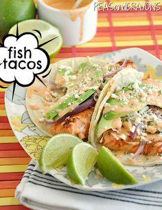 Seared Salmon Tacos with Avocado, Honey-Lime Slaw and Sriracha Ranch