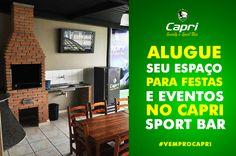 Quer um espaço para curtir com os amigos? então venha para o Capri Sport Bar e ALUGUE o seu ESPAÇO, com CHURRASQUEIRA, TV e e muito mais!