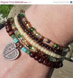 SALE Gypsy Fling Stacking Bracelets with Copper Heart Charm. $24.00, via Etsy.