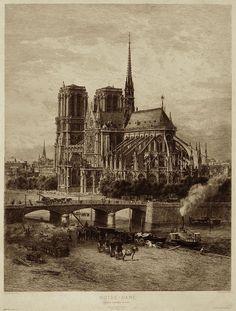 Notre-Dame et ses abords fin XIXe...cela a changé. http://paris-visites.voila.net @notredame2paris #France #Paris #cathedrale