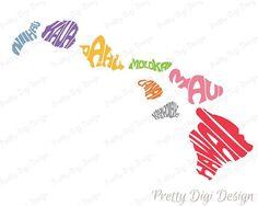Digital Hawaii Islands Word Art, Hawaii jpg, png, pdf, eps, svg, dxf, Hawaii logo design, Hawaii Islands word in map shape wall decor