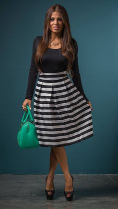 Gathered Together Striped Skirt