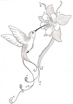 hummingbird with flower tattoo - Hummingbird Flower Coloring Pages