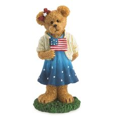Boyds Bears Bearstone Figurine (Sami Spangler…Hooray For The Red, White & Blue) 4041887