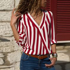 Buy Women Striped Blouse Shirt Long Sleeve Blouse V-neck Shirts Casual Tops Blouse et Chemisier Femme Blusas Mujer de Moda 2019 - Red - and Find more Women's Blouses & Shirts enjoy up to off. Red Blouses, Shirt Blouses, Blouses For Women, Chiffon Blouses, Cheap Blouses, Striped Long Sleeve Shirt, Long Sleeve Tops, Long Sleeve Shirts, Striped Shirts