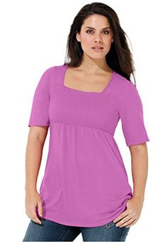 7459e70f759 Smocked Square Neck Tunic by Ellos - Women s Plus Size Clothing