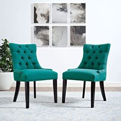 Modway Regent Fabric Dining Chair in Teal Modway