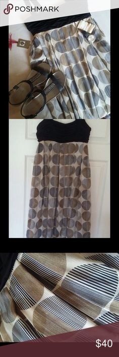 "LONDON TIMES Dress Fit and pleated flare .. Wide shoulder straps..side zipper..poly/spandex... Length from under arm 30"" ... Worn once excellent condition like new Dresses Midi"