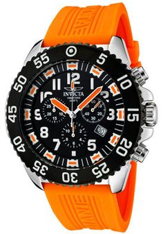 Invicta Watch 1103 Men's Pro Diver Chronograph Black Dial Orange Polyurethane