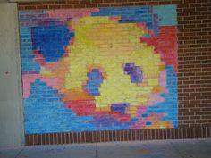 Bricks as Pixels - Chalk Murals  Art of Apex High School: brickstop14