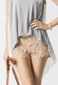 Floral Crochet Shorts in Peach