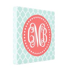 Coral and Mint Preppy Quatrefoil Script Monogram Canvas Art Print