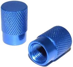 "(2 Count) Cool and Custom ""Diamond Etching Flat Top with Easy Grip Texture"" Tire Wheel Rim Air Valve Stem Dust Cap Seal Made of Genuine Anodized Aluminum Metal {Crisp Kia Blue Color - Hard Metal Internal Threads for Easy Application - Rust Proof - Fits For Most Cars, Trucks, SUV, RV, ATV, UTV, Motorcycle, Bicycles}"