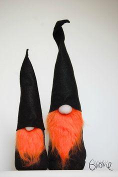 Halloween Gnome Pair Scandinavian Tomten by NordicGnomeShop