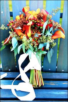 Fall wedding bouquet made of silk flowers by Hollysflowershoppe.