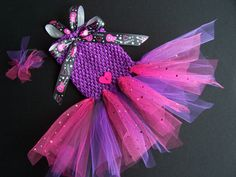 Dog TuTu Dress in Hot Pink  purple and Black Toy dog by Frillypaws, $23.00