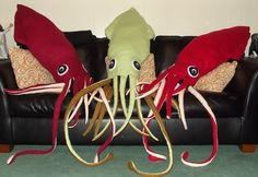 Huge Cuddly Giant Squid Plush by PsychoKittyKreations on Etsy, $120.00
