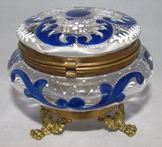 Beautiful Hand Painted Glass Dresser Powder Jar Trinket Box ~ Cobalt Blue