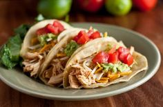 Crockpot Chicken Tacos  These will be next on the menu! I can't wait to try these! #paleo #tacos #mexicanfiesta