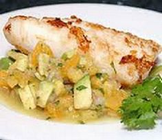 WW Grilled Orange Roughy-Delicious and topped with a nectarine salsa also Weight Watchers friendly at 4 Points+ per serving.