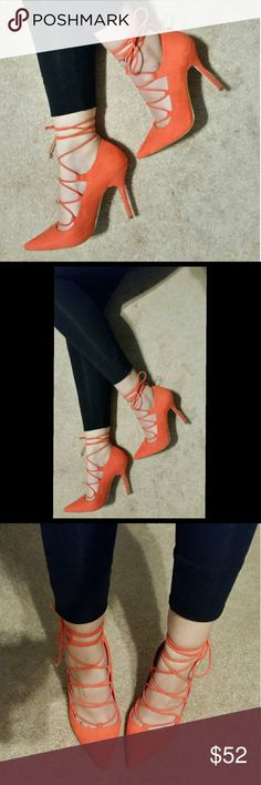 Selling this NIB Aldo red orange lace up pumps, 7 on Poshmark! My username is: apatel43. #shopmycloset #poshmark #fashion #shopping #style #forsale #Aldo #Shoes
