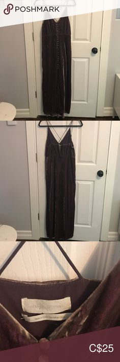 UO Mauve velvet maxi dress Perfect occasion dress!!! Unique colored maxi dress from Urban Outfitters with crossed and adjustable spaghetti straps with covered buttons down the front. Back is slightly lower then the front.   Size US 8  Color: mauvy-grey Urban Outfitters Dresses Maxi Urban Dresses, Urban Outfitters Dress, Plus Fashion, Fashion Tips, Fashion Trends, Covered Buttons, Occasion Dresses, Spaghetti Straps, Mauve