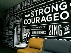 Typography Wall Art: An Interior Design Piece Church Interior Design, Church Design, Youth Decor, Church Lobby, Wall Text, Environmental Design, Environmental Graphics, Typography Inspiration, Grafik Design